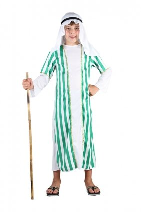Green Stripe Shepherd Joseph Inn Keeper Boys Girls Nativity Fancy Dress Costume