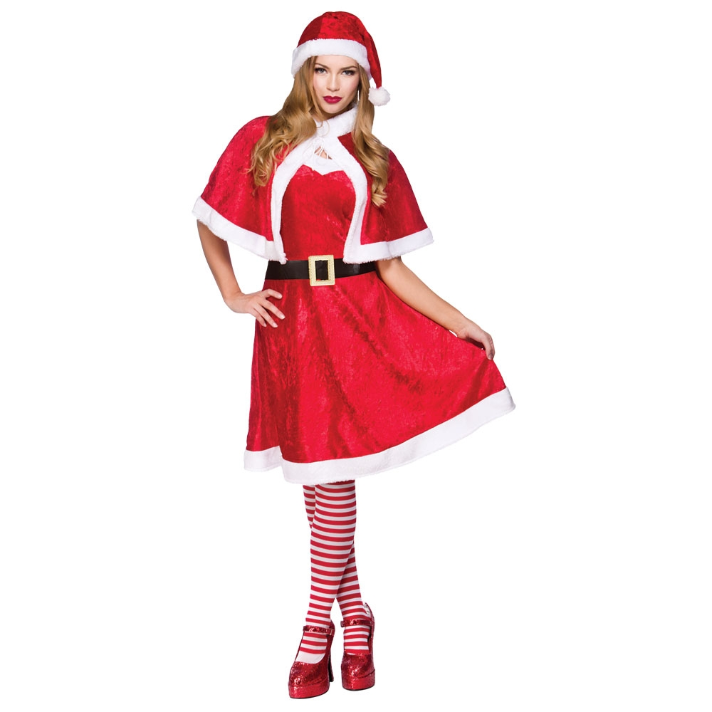 Mother Christmas.Ladies Womens Velour Miss Santa Mother Christmas Fancy Dress Costume Outfit